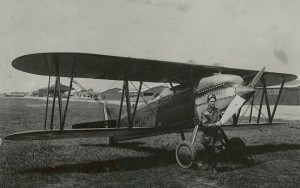 Russell Maughan and the PW-8 he flew across the United States.